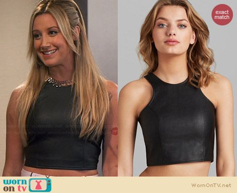Olivaceous Faux Leather Crop Top worn by Ashley Tisdale on Young & Hungry