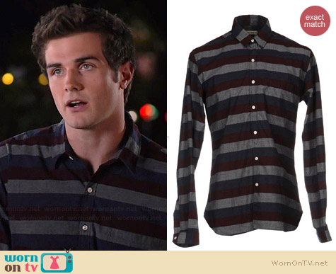 Oliver Spencer Striped Shirt worn by Beau Mirchoff on Awkward