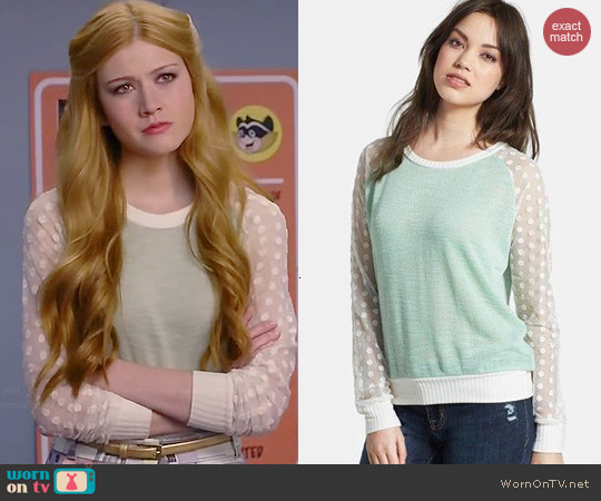 Olivia Moon Sheer Sleeve Sweater worn by Katherine McNamara on Happyland