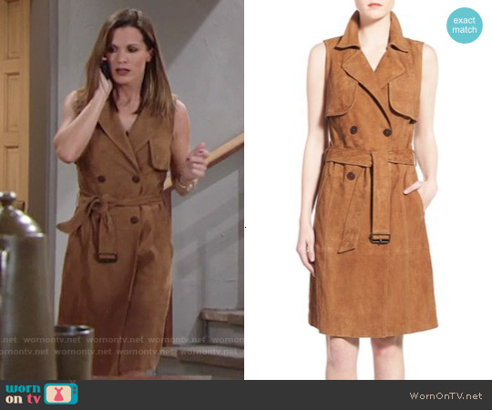 Olivia Palermo + Chelsea28 by Sleeveless Suede Trench Dress worn by Melissa Claire Egan on The Young & the Restless