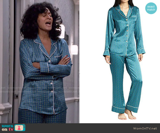 Olivia von Halle Printed Silk Pajamas worn by Tracee Ellis Ross on Blackish