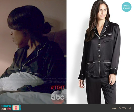 Olivia von Halle Silk Satin Pajamas worn by Kerry Washington on Scandal