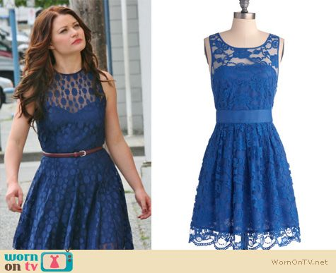Once Upon A Time Fashion: Belle's blue lace dress by Armani Exchange