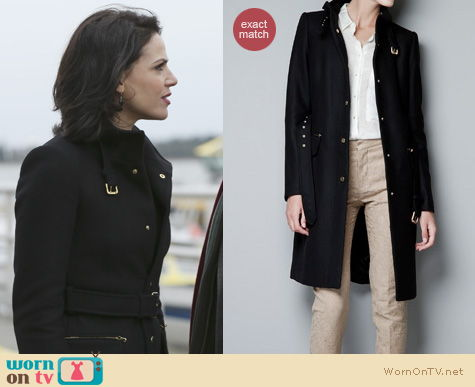 Once Upon A Time Fashion: Black Zara coat worn by Regina