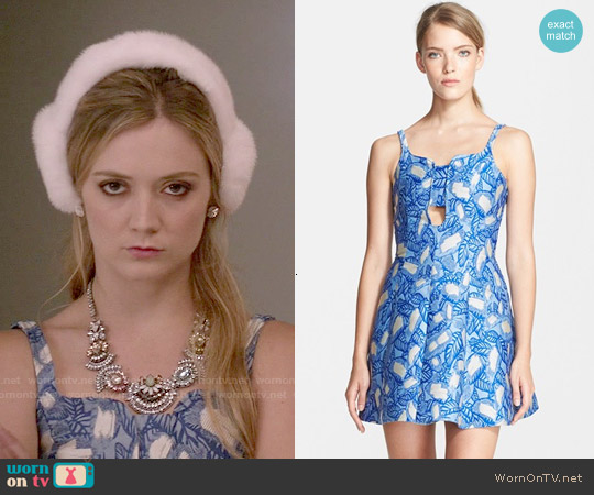 Opening Ceremony 'Pelagic Painted Leaves' Bandeau Dress worn by Billie Lourd on Scream Queens