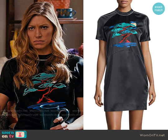 Opening Ceremony Bonsai-Embroidered Silk Varsity Dress worn by Jes Macallan on Mistresses