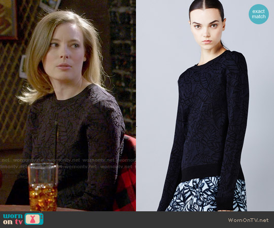 Opening Ceremony Large Frond Leaves Sweater worn by Gillian Jacobs on Community