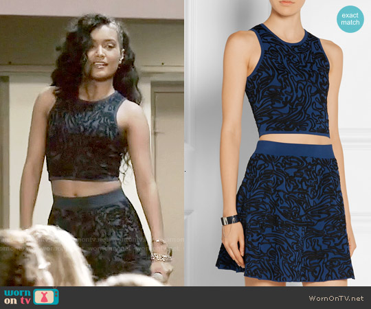 Opening Ceremony Cropped intarsia stretch-knit top and skirt worn by Jamila Velazquez on Empire