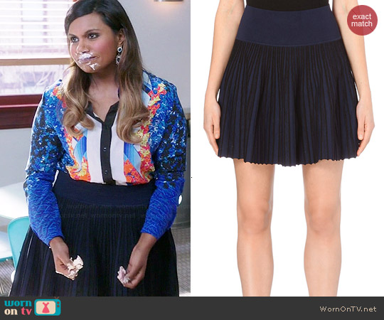 Opening Ceremony Knitted Pleated Skirt worn by Mindy Lahiri on The Mindy Project