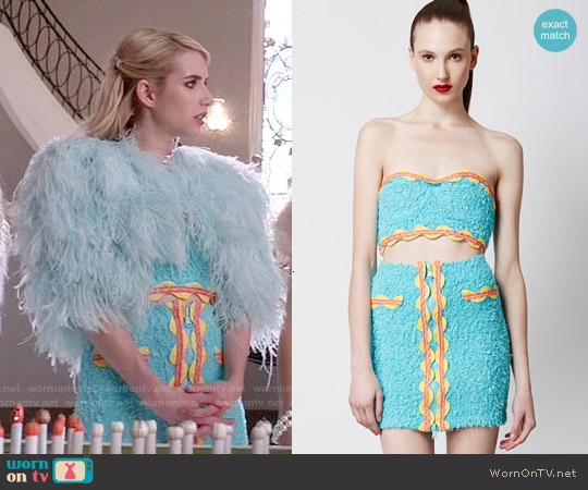 Moschino Fuzzy Ribbon Detail Crop Top and Skirt worn by Emma Roberts on Scream Queens