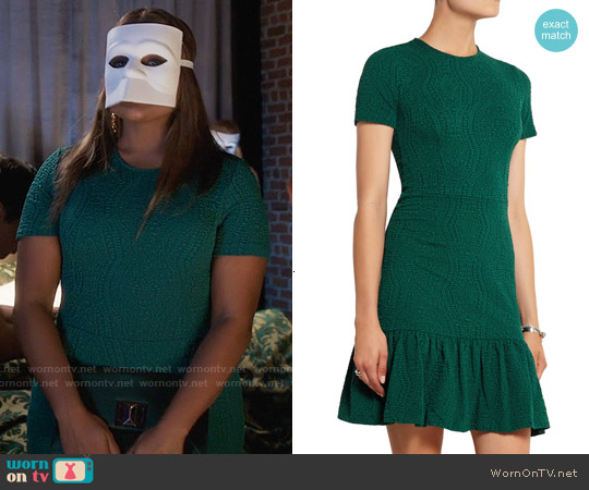 Opening Ceremony Ruffled Matelassé Jersey Mini Dress worn by Mindy Kaling on The Mindy Project