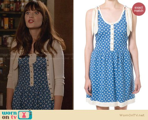 Orla Kiely Blue Summer Dress worn by Zooey Deschanel on New Girl