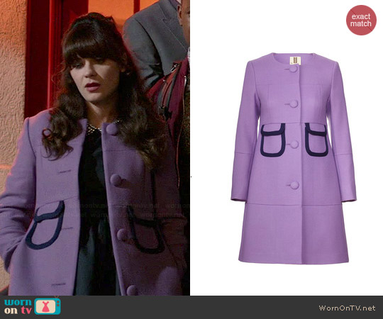 Orla Kiely Wool Twill Bound Pocket Coat worn by Zooey Deschanel on New Girl