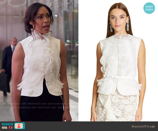 Oscar de la Renta Ivory Organza & Lace Ruffle Detail Silk Faille Vest worn by Gina Torres on Suits