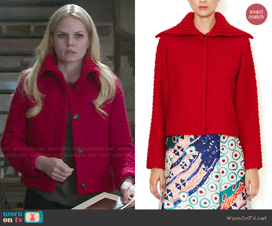 Oscar de la Renta Diamond Quilted Cardigan worn by Jennifer Morrison on OUAT
