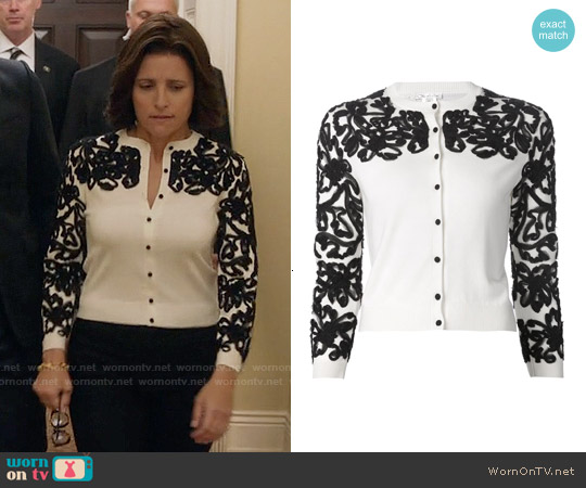 Oscar de la Renta Embroidered Cardigan worn by Julia Louis-Dreyfus on Veep