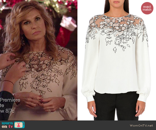 e869a0f34b717 WornOnTV  Rayna s white long sleeve floral embroidered blouse on ...
