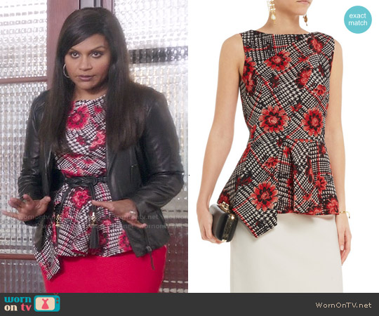 Oscar de la Renta  Jacquard Peplum Top worn by Mindy Kaling on The Mindy Project