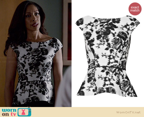 Oscar de la Renta Floral-print cotton and silk-blend top worn by Gina Torres on Suits