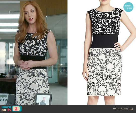 Oscar de la Renta Floral Wool Day Dress worn by Sarah Rafferty on Suits