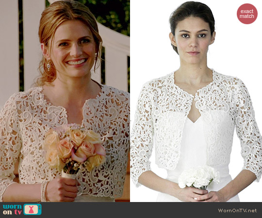 Oscar de la Renta Lace Bolero worn by Stana Katic on Castle