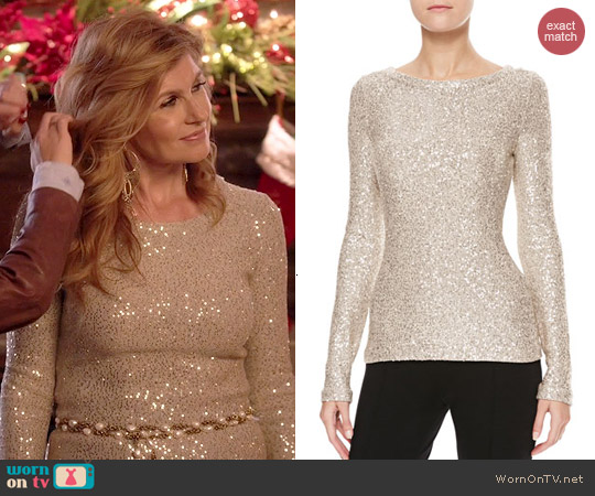 Oscar de la Renta Long Sleeve Sequin Sweater worn by Connie Britton on Nashville