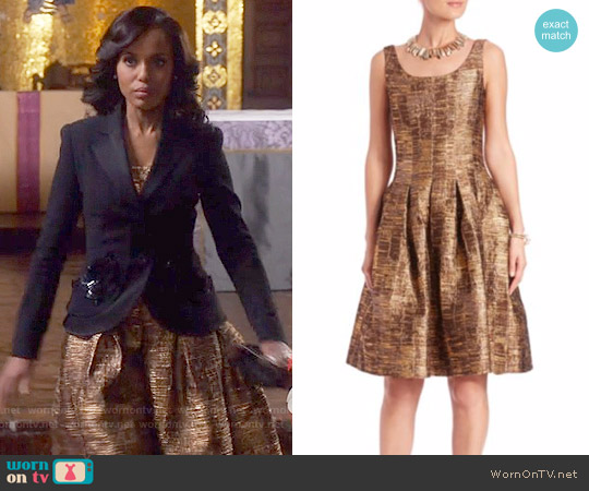 Oscar de la Renta Metallic Silk Fit-&-Flare Dress worn by Kerry Washington on Scandal