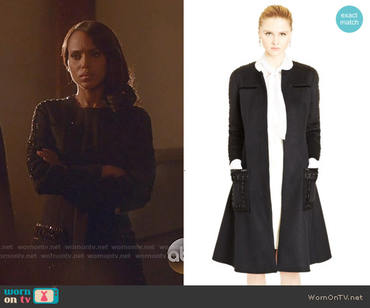 Oscar de la Renta Ribbon & Bead Embroidered Cashgora Coat worn by Kerry Washington on Scandal