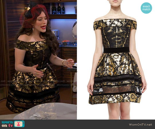 Oscar de la Renta Velvet-Trim Brocade Dress W/Lace Insets worn by Kat Dennings on 2 Broke Girls