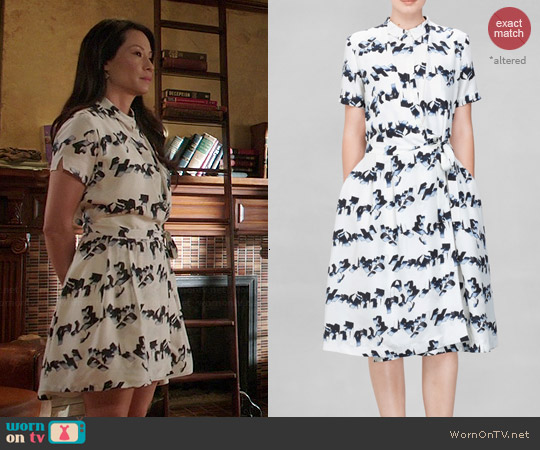& Other Stories Streamers Graphic Dress worn by Lucy Liu on Elementary