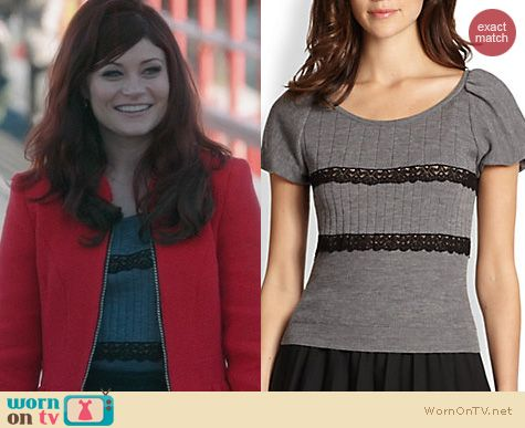 OUAT Clothes: RED Valentino Lace Ribbon Sweater worn by Belle