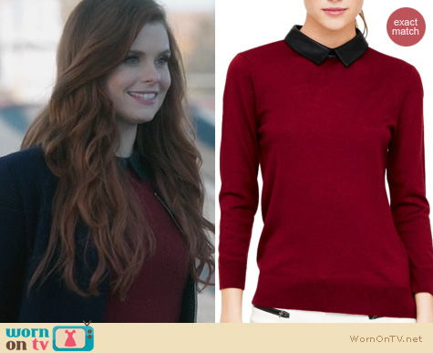 OUAT Fashion: Club Monaco Riley Leather Collar Sweater worn by JoAnna Garcia Swisher