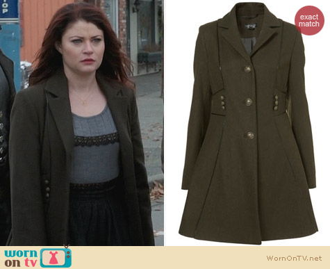 Fashion of OUAT: Topshop Military Piped Girly Coat worn by Emilie De Ravin
