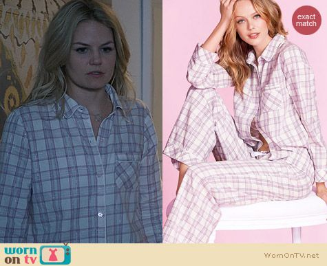 OUAT Fashion: Victoria's Secret The Dreamer Flannel Pajamas in Pink/Grey Metallic Plaid worn by Jennifer Morrison