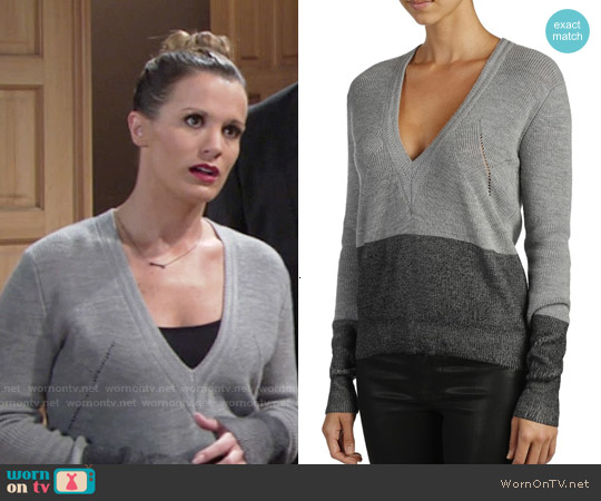 Paige Delphine Colorblock Sweater worn by Melissa Claire Egan on The Young & the Restless