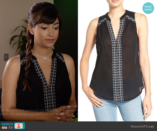 Paige 'Lina' Embroidered Cotton Tank worn by Hannah Simone on New Girl