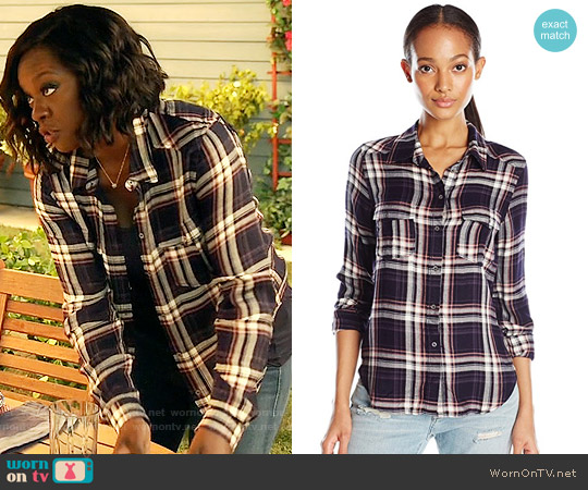Paige Mya Shirt in Evening Blue / Cream / Ash Rose worn by Viola Davis on HTGAWM