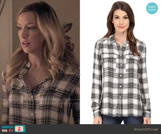 Paige Trudy Shirt in White/Black/True Blush worn by Katie Cassidy on Arrow