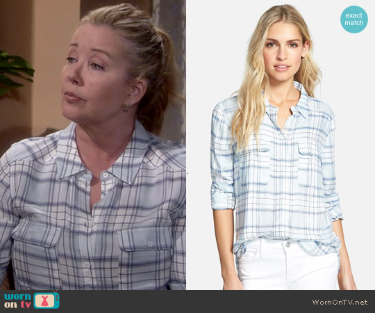 Paige Denim Trudy Shirt in Blue Heather/White/Mazarine Combo worn by Melody Thomas-Scott on The Young & the Restless