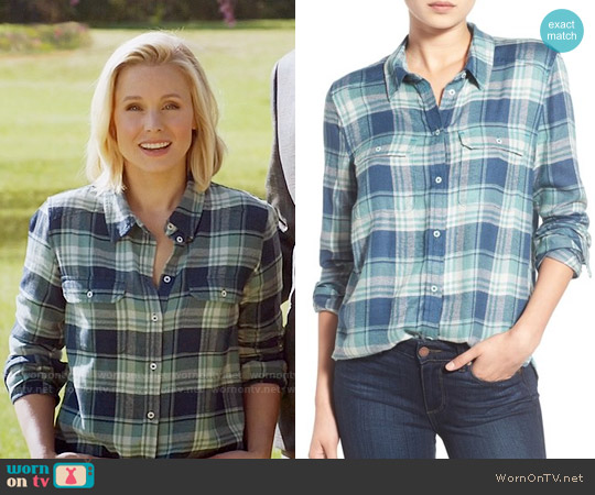 Paige Denim Trudy Shirt in Blue Teal/ Trellis worn by Kristen Bell on The Good Place