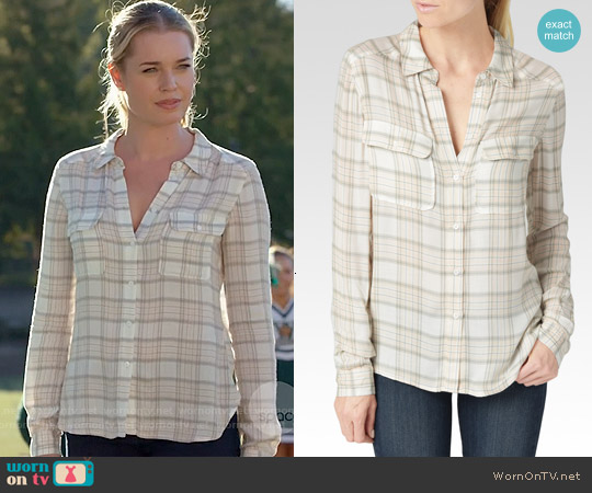 Paige 'Trudy' Shirt in True Blush & Sea Moss worn by Rebecca Romijn on The Librarians
