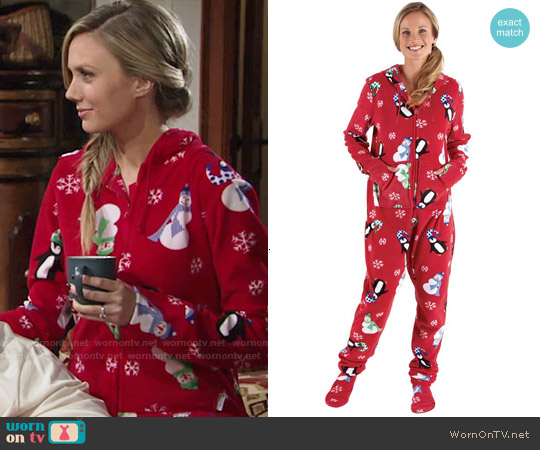 PajamaGram Holiday Hoodie Footie worn by Melissa Ordway on The Young & the Restless