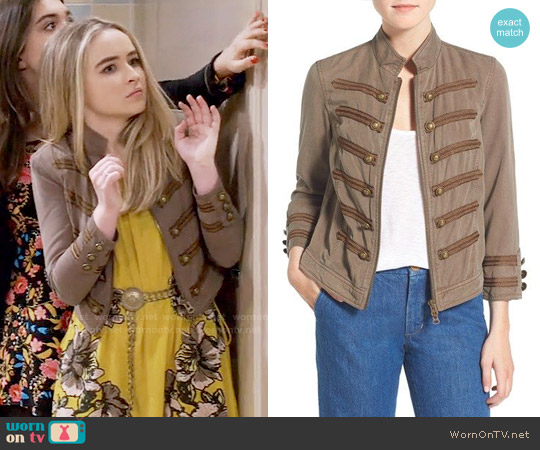 Pam & Gela Crop Military Band Jacket worn by Sabrina Carpenter on Girl Meets World
