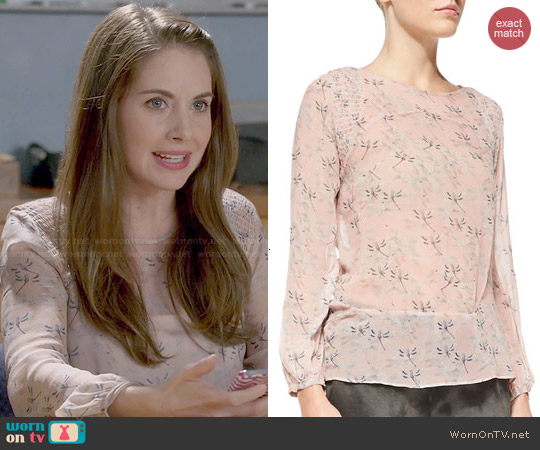 Pam & Gela Smock-Shoulder Floral-Print Blouse worn by Alison Brie on Community