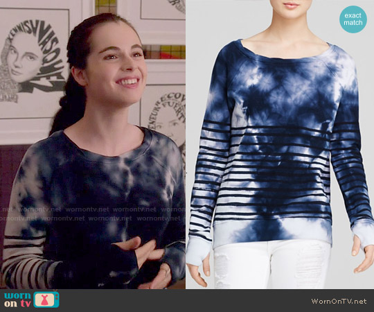 Pam & Gela Annie Stripe Tie Dye Sweatshirt worn by Vanessa Marano on Switched at Birth