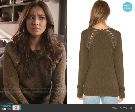 Pam & Gela Lace Back Sweater worn by Shay Mitchell on PLL
