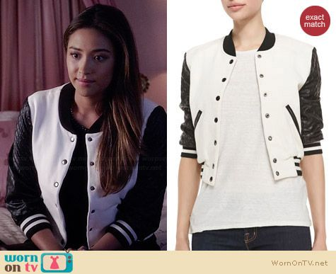 Pam & Gela Letterman Style Jacket with Quilted Sleeves worn by Shay Mitchell on PLL