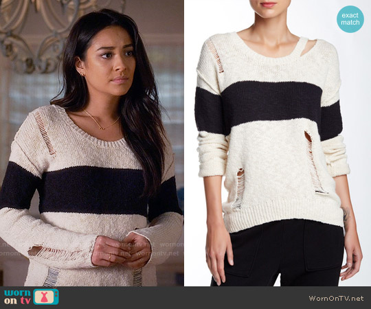 Pam & Gela Long Sleeve Stripe Sweater worn by Shay Mitchell on PLL