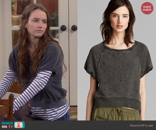 Pam & Gela Studded Crop Sweatshirt worn by Kaitlyn Dever on Last Man Standing