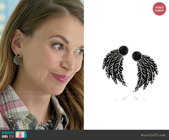 Pamela Love Feather Silver Onyx Earrings worn by Sutton Foster on Younger